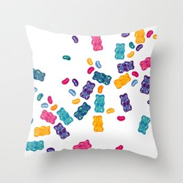 Sweet Jelly Beans & Gummy Bears Throw Pillow