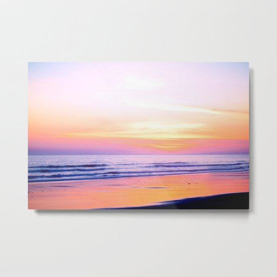 Pink Sunset Beach Metal Print