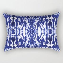 Ayashi Shibori Ikat Blue Rectangular Pillow