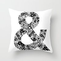 helvetica Throw Pillows featuring Helvetica Ampersand  by Phillip Kauffman