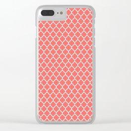 Coral White Quatrefoil Pattern Clear iPhone Case