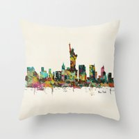 new york skyline Throw Pillows featuring new york city skyline by bri.buckley