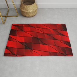 Mirrored gradient shards of curved red intersecting ribbons and horizontal lines. Rug