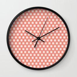 White Polka Dots and Circles Pattern on Pantone Living Coral Wall Clock