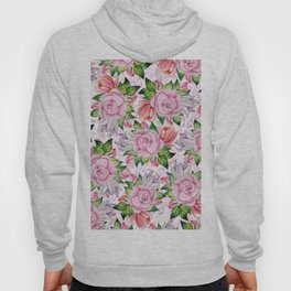 Watercolor pink lavender colorful hand painted roses flowers Hoody