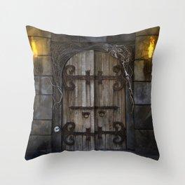 Gothic Spooky Door Throw Pillow