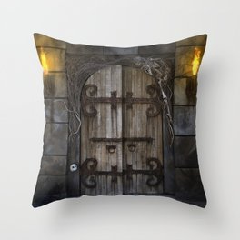 Gothic Spooky Door Throw Pillow
