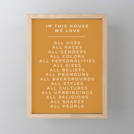 In This House Diversity Acceptance Print - American English - Mustard Yellow Framed Mini Art Print