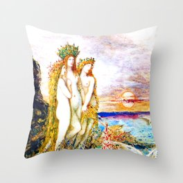 """Gustave Moreau """"The Sirens"""" Throw Pillow"""
