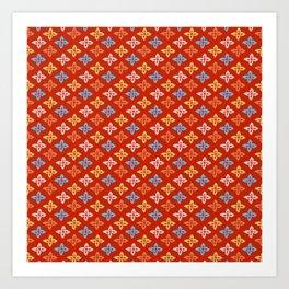 Las Flores - Red 01 (Patterns Please) Art Print