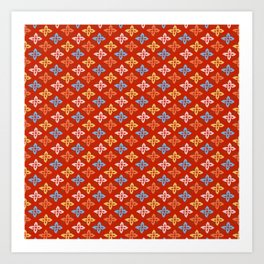 Las Flores - Red 01 (Patterns Please) Art Print