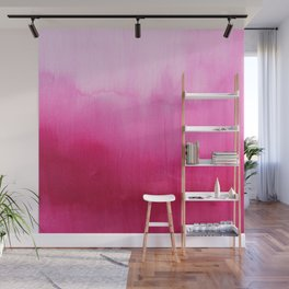 Modern fuchsia watercolor paint brushtrokes Wall Mural