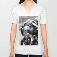 moto V-neck T-shirts featuring moto by Farkas B. Szabina