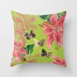 Flowers Butterflies Throw Pillow