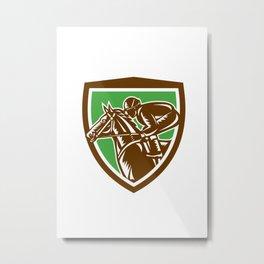 Jockey Horse Racing Side Shield Retro Metal Print
