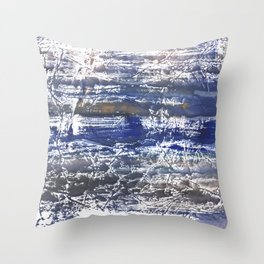 Gray Blue Marble abstract watercolor Throw Pillow