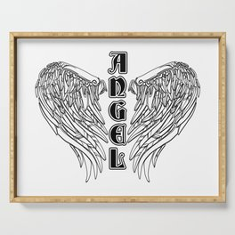 Black Gothic Angel Wings Serving Tray