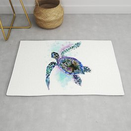 Sea Turtle Underwater Scene Artwork, turquoise blue, gray design beach Rug