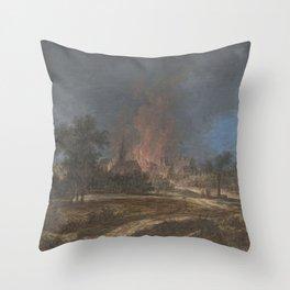 Brand in een dorp, Barbara Regina Dietzsch, Christoph Ludwig Agricola, 1716 - 1783 Throw Pillow