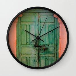 Exotic Green Door with Pink Marakkech Morocco Wall Clock
