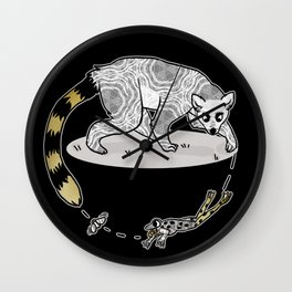Ring Tailed Lemur, Frog & Fly, Funny Animal Illustration, Black and White Cute Lemur Graphic Design Wall Clock