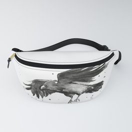 Raven Watercolor Fanny Pack