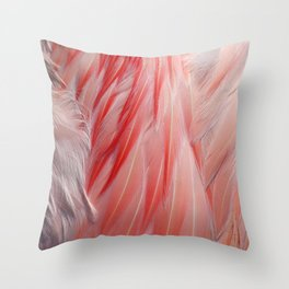 Coral Pink and White Flamingo Feathers Texture Photograph Throw Pillow