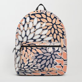 Floral Prints, Navy, Coral, Peach and Gray, Abstract Art, Coloured Prints Backpack
