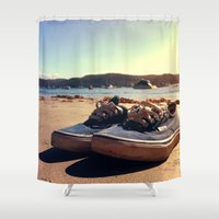 vans Shower Curtains featuring Beached Vans by Zakvdboom Designs