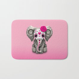 Pink Day of the Dead Sugar Skull Baby Elephant Bath Mat