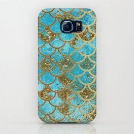 Aqua Teal & Gold Glitter MermaidScales - Mermaid Scales And Sea Foam iPhone Case