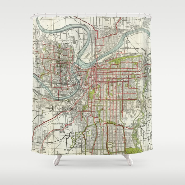 Vintage Map of Kansas City Missouri (1920) Shower Curtain by ...