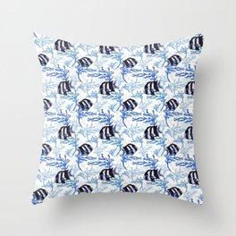 Damselfish in Blue Coral Throw Pillow