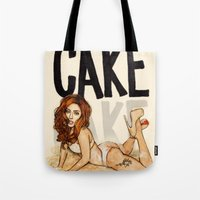 cake Tote Bags featuring CAKE  by Helen Green