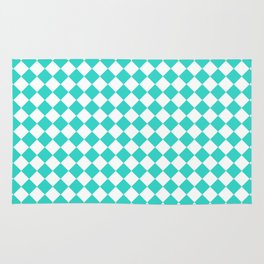 Small Diamonds - White and Turquoise Rug