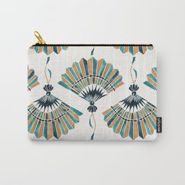 Folding Fan – Teal & Gold Palette Carry-All Pouch