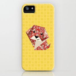 Origami Puppies With Yellow Background iPhone Case