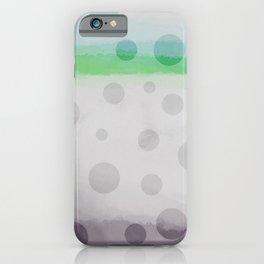 Gray/Green/Sky Blue Watercolor w/ Polka Dots Pattern 2 iPhone Case