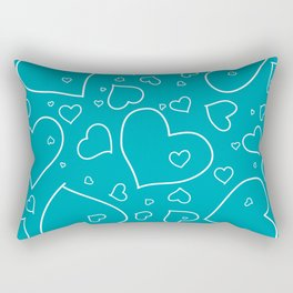 Turquoise and White Hand Drawn Hearts Pattern Rectangular Pillow