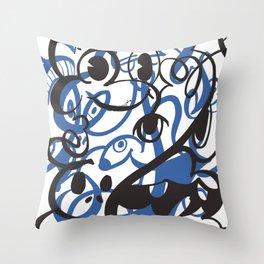 Happy doodle do! Blue version Throw Pillow