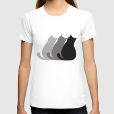 cats SMALL White Womens Fitted Tee