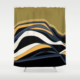 olive & navy & mustard  / minimalist Shower Curtain