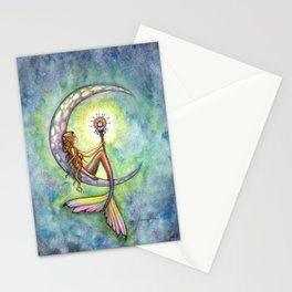 Mermaid Moon Watercolor Fantasy Art by Molly Harrison Stationery Cards