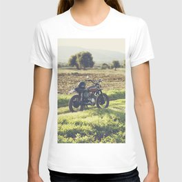 Moto guzzi, café racer, photo in south italy, man cave. Scrambler, fine art, motorcycle, motorbike T-shirt