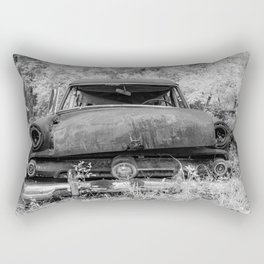 Rusting Station Wagon Infrared Black and White Abandoned Rectangular Pillow