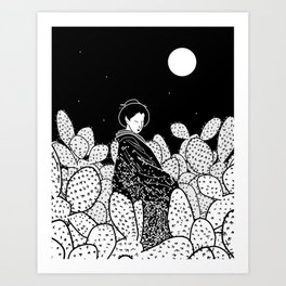 Japanese Lady in a Cactus Field at Night Art Print