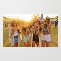 coachella Area & Throw Rugs featuring Coachella Festival by Cactus And Fog
