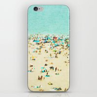 square iPhone & iPod Skins featuring Coney Island Beach by Mina Teslaru