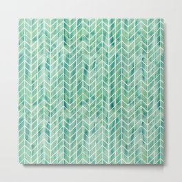 Caribbean green watercolor pattern Metal Print