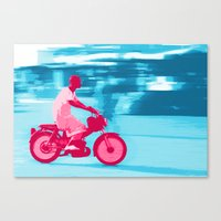 motorbike Canvas Prints featuring Motorbike Guy by Sergio Silva Santos